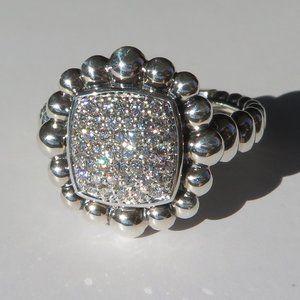 Sterling Silver Caviar Spark Diamond Ring